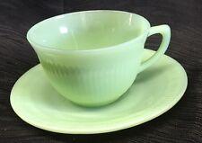 Vintage Fire King Green Jadeite Jadite  Oven Ware Tea Coffee Cup Mug Saucer D
