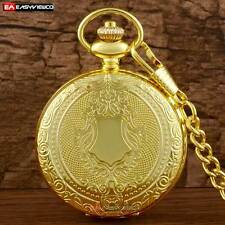 Golden Shield Pocket Watch New Necklace Quartz Chain Vintage Floral Retro Gift