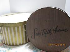 2 VINTAGE Hat Boxes  Unbranded Gold Stripe * Round Saks Fifth Avenue