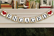 ENGAGED Cardboard Engagement Decoration Bunting Banner Garland