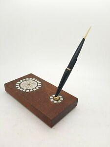 Vintage Desk Walnut & Handmade Stoneware By Marshall Studio Parker Foubtain Pen