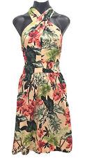 Cue Dress 10 Womens Tropical Print Crossover Pockets Cotton  EUC