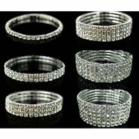 Fashion Crystal Rhinestone Stretch Bracelet Bangle Wristband Wedding Jewelry New