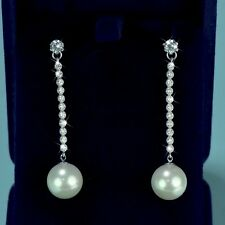 18k white gold gf crystal stud pearl earrings 925 silver pin dangle long stick