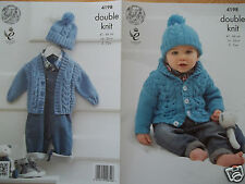 "BABY BOY CARDIGAN & HAT DK KNITTING PATTERN FOR SIZE 16-26"" CHEST KING COLE 4198"