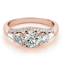 1.75Ct Round Cut Solitaire Diamond Bridal Wedding Ring 14K Rose Gold Size 5 6