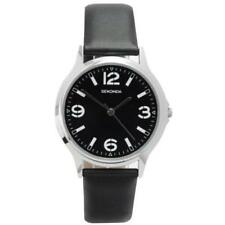 Sekonda 3285 Elegant Gents Black Dial Leather Strap Stainless Watch RRP £39.99