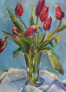 "ORIGINAL OIL PAINTING SIZE: 18""x24""2"" FLOWERS TULIPS MODERN WALL ART STILL LIFE"