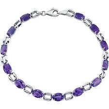 "Natural Purple Amethysts Line Tennis Bracelet 14K. Solid White Gold 7.15"" length"