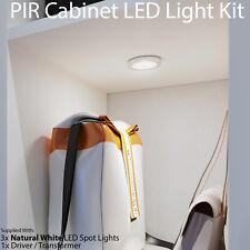 Auto On/Off LED Kit –3 In/Under Cabinet Kitchen Light–PIR Motion Sensor/Detector