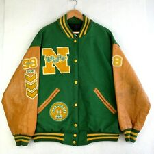 Mens Varsity March Band Letterman Jacket - Green Yellow -  Size XL - Made in USA