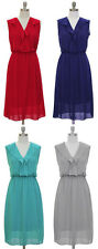 Classy  Pleated Crepe Chiffon Dress Lined S M L XL NWT