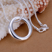 925 Sterling Silver Filled Simple O Ring Solid Charm Pendant Necklace 20""