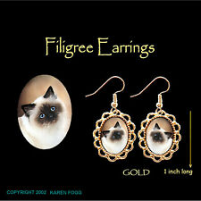 Birman Longhair Cat - Gold Filigree Earrings Jewelry