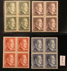 3. Reich , D. Reich Adolf Hitler Nr.799 A -  802 A ** Viererblock, VBL ...+