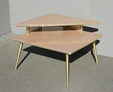 New ListingVintage Mid Century Retro 1960 Corner Table COFFEE TABLE W Brass  Peg Legs