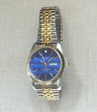 Swanson Men Watch Round Day Date Blue Dial on Two Tone Stretch Band New Stylish!
