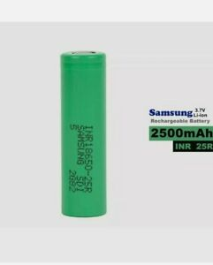 2 x Samsung 25R INR 3.7V 2500mAh Rechargeable Cells With Case