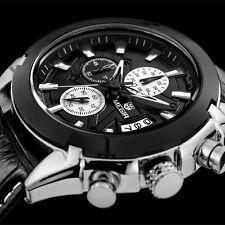 Superbe Montre Luxe Top Qualité Homme Mégir Cuir Date Chronograph Etanche