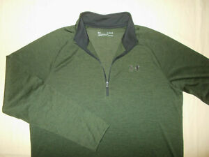 UNDER ARMOUR HEAT GEAR 1/2 ZIP LONG SLEEVE GREEN LOOSE FIT TOP MENS XL EXCELLENT