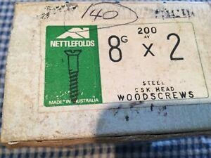 8g x 2inch Nettlefolds CSK Head STEEL WOOD SCREWS Qty. 40