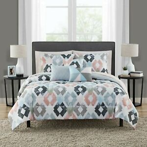 Reversible Marble Diamond 10-Pcs King Bed in a Bag Bedding Set Comforter Sheets
