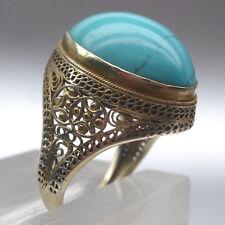 Hochwertiger Ring mit feinem Türkis, Silber vergoldet, Silver, Tourquoise