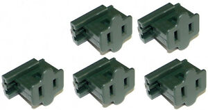 5-Pack Female Slip On Plugs, Zip Plugs, Green, Add On Outlet Tap, for SPT-1 Cord