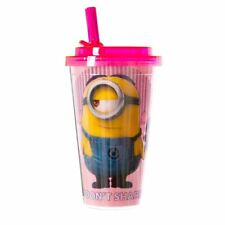 Despicable Me Minion Made I Don't Share Pink Glitter Tumbler with Straw New