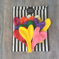 "10 Rainbow Mix Biodegradable Latex 11"" Heart Shaped Balloons - Wedding, Funeral"