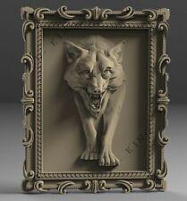 STL 3D Models # THE WOLF IN FRAME # for CNC Aspire Artcam 3D Printer 3D MAX