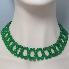 Beau Collier 45cm EN Vert Malay Jade et Argent 925