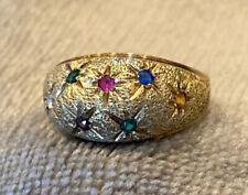 Vintage 10k Multi Color Sapphire Ring- Size 8.25