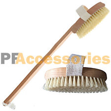 """15"""" inch Spa Back Body Shower Bath Brush with Natural Wood Long Removable Handle"""