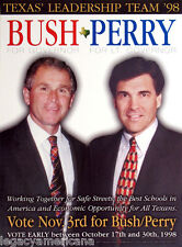 1998 George W. Bush Rick Perry Texas Lieut. Governor Campaign Poster (2289)