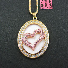 Heart Pendant Betsey Johnson Necklace Fashion Pink Crystal Exquisite Love