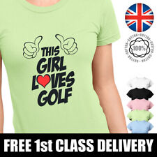 THIS GIRL LOVES GOLF T-Shirt Ladies Top Womans Fit Slogan TShirt Graphic Tee. UK
