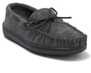 Minnetonka Tory Traditional Trapper Slipper Suede Charcoa Grip Sole Plaid Lining