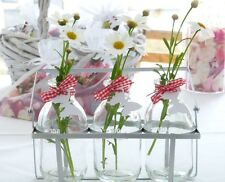 x2 SET 3 SCHOOL MILK BOTTLES IN SILVER CRATE FLOWER BUD VASE GLASS WITH RIBBON