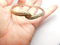 Signed Monet Golden Topaz Rhinestone Bangle Bracelet Gold Tone Metal Vintage