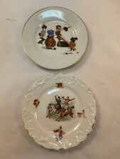 Vtg 2pc Antique Milk Glass Child's Toy Plates Circus Horse Germany See Saw Play
