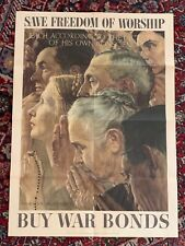 Norman Rockwell Vtg WWII 1943 Four Freedoms Bonds Poster Worship OWI Poster 43 !