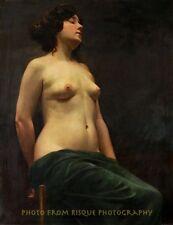"Nude Female On Chair 8.5x11"" Photo Print Vojtech Hynais Poloakt Naked Woman Art"