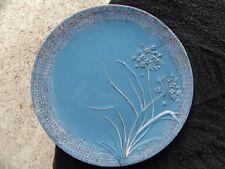 Woolrich Chatham Run Embossed Flower Stem Gauze White Rust Rim Blue Dinner Plate
