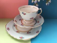 Vintage Colclough Bone China Duck Egg Blue & Roses Tea Set Trio-Cup,Saucer,Plate