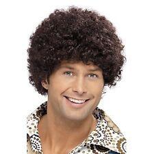 Hombre Alta Calidad AÑOS 70 Disco Dude Marrón Peluca Afro 80 Disfraz Accesorio