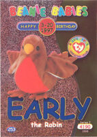 TY Beanie Babies BBOC Card - Series 2 Birthday (BLUE) - EARLY the Robin - NM/M