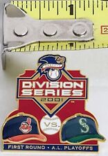 2001 CLEVELAND INDIANS Chief Wahoo SEATTLE MARINERS Division Playoffs Lapel Pin