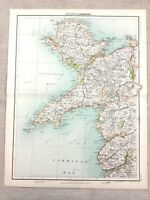 1890 Antik Map Of Carnarvon Wales Anglesey Strickjacke Bay 19th Century Original