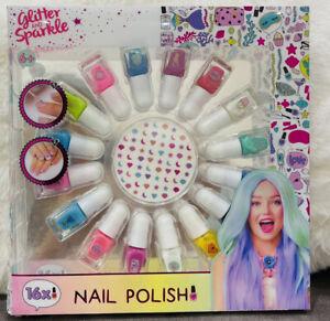 Kid Girls Beautiful nail polish Set Of 16 Multicoloured~with Nail Art
